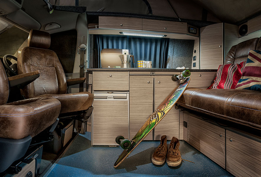 Interior of a converted VW Camper by 8 Ball Campers