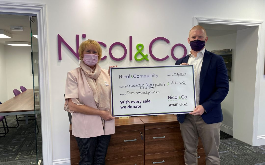 Nicol & Co donates £700 to thank NHS and mark success of virtual property tours during COVID-19