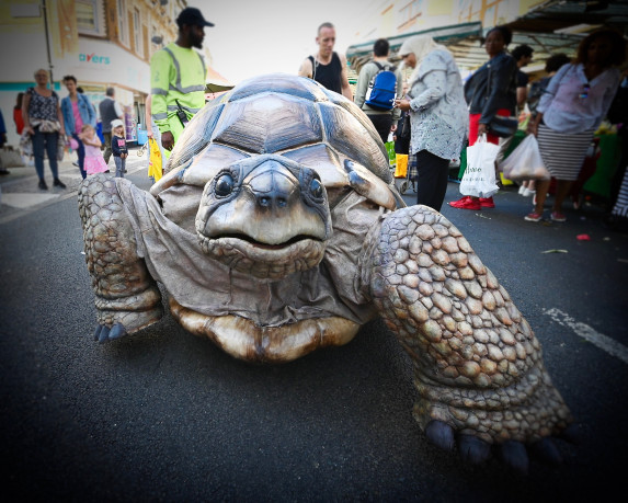 Aliens, acrobats and a giant tortoise bring family fun to the city centre